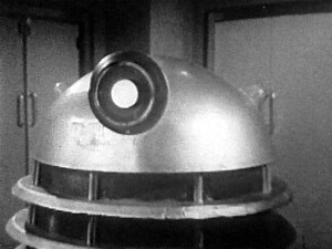 "Chillingly staring into the camera and reminding us that ""We are not yet ready to teach these human beings the law of the Daleks!"""